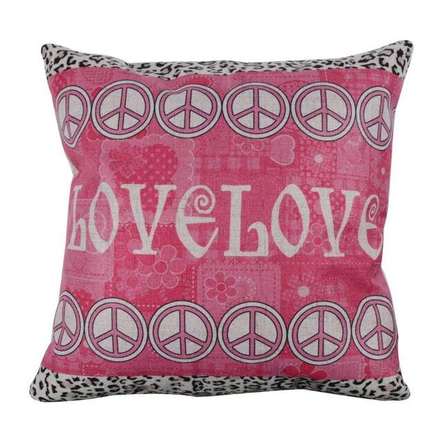 linkwell 45 x 45 cm mode amour paix rose fleur de bande dessinee linge housse de