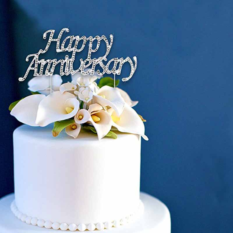 Us 4 24 15 Off Happy Anniversary Cake Topper For 10th 20th 25th 30th 36th 40th 50th 60th 70th Wedding Anniversary Table Centerpiece Decoration In