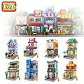 Loz mini bloques de construcción modelo de arquitectura de la calle juguetes niños diy ensamblar juguetes educativos creativos para la edad 6 +