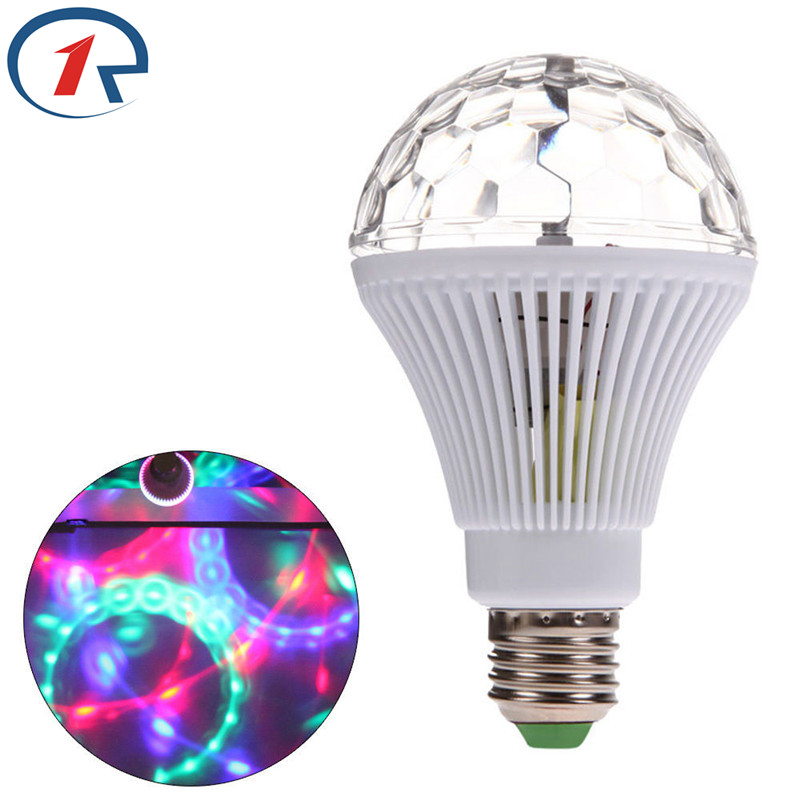 ZjRight E27 RGB led Stage Light Auto Rotating Crystal Magic Ball Disco bar DJ lights Christmas birthday Party effect LED Light