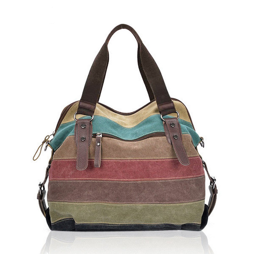 Casual Handbag Striped Canvas Handbags Ladies Shoulder Bags Contrast Color Crossbody Bags Messenger Bag