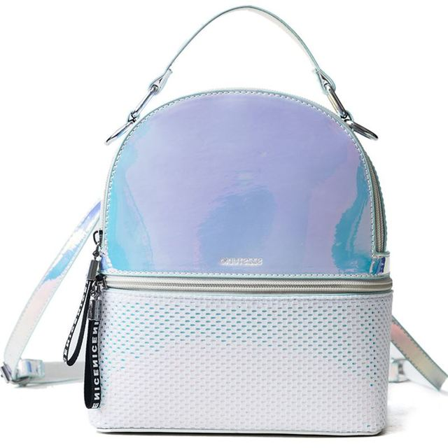 2018 Women Backpack Hologram New PVC Shiny School Bag Laser Transparent  Backpack Teenage Girls Sac A