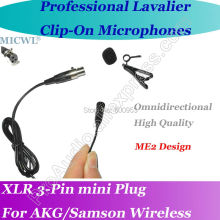 MICWL ME2 Pro Microfone Lavalier para Lapel Microphone for AKG Samson Gemini Wireless XLR Mini 3-Pin micwl me2 pro microfone lavalier para lapel microphone for akg samson gemini wireless xlr mini 3 pin