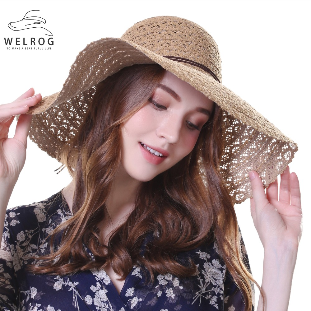 acce7b0a WELROG 2019 New Bowknot Summer Sunhat for Women's Foldable Wide Large Brim  Elegant Sun Hat Ladies