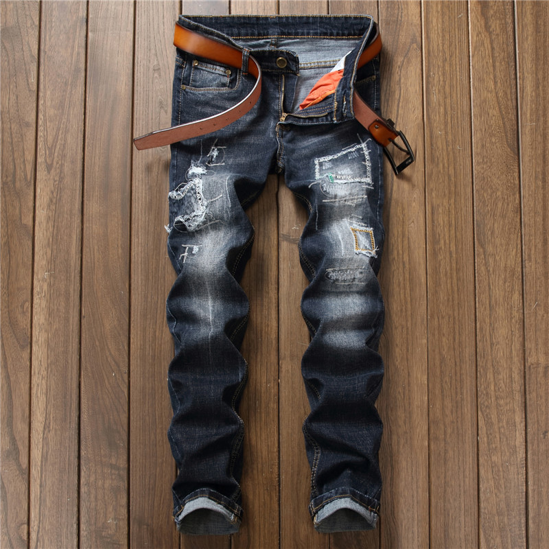 New fashion trendy ripped distressed strech jeans mens embroidery patches men trousers slim fit stylish hiphop denim pants boys