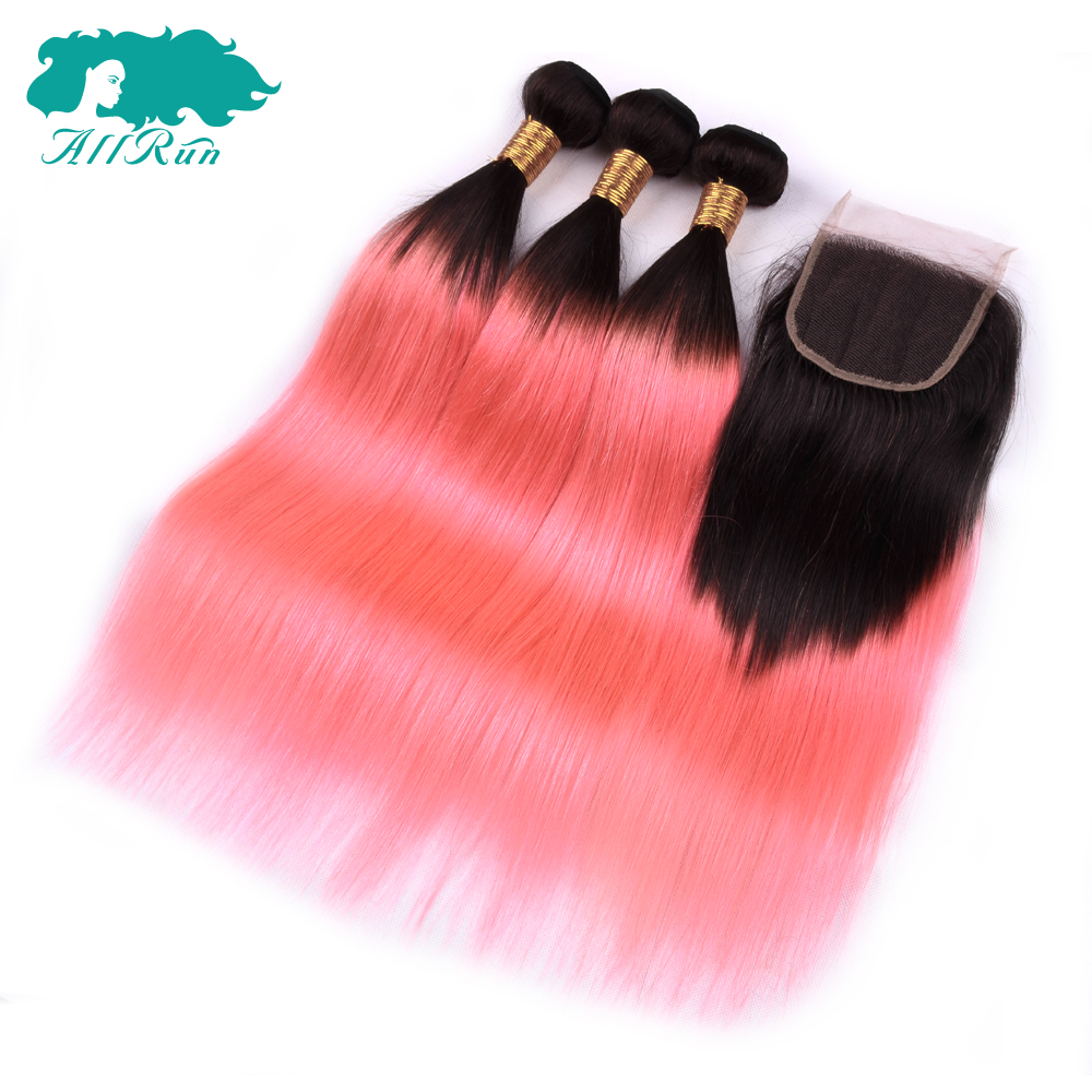 Ombre Bundles With Closure Allrun 1B/ Pink Two Tone Human Hair Brazilian Straight Hair 3 Bundles Pack With Closure Non Remy