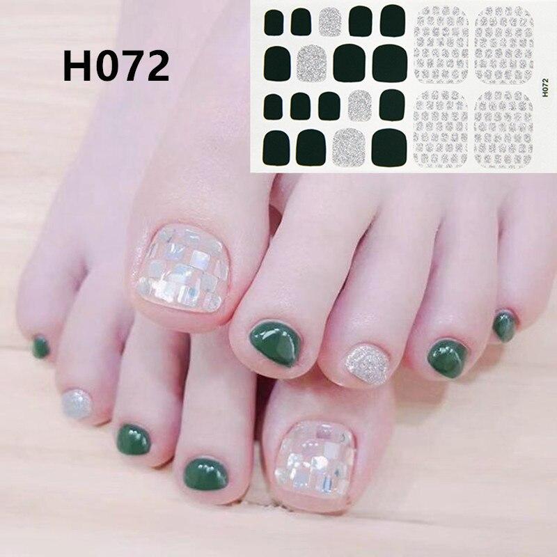 Lamemoria 1Sheet Full Cover Toe Nail Art Toenail Stickers Glitter Gradient Color Rainbow Decal Adhesive Pedicure Foot Decoration