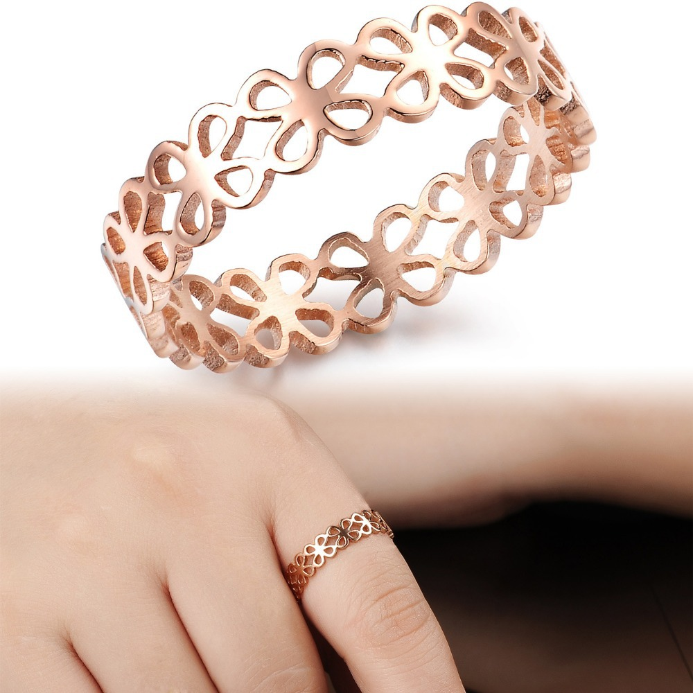Titanium Steel Jewelry Rose gold Color Hollow Out Cute Clover Ring ...
