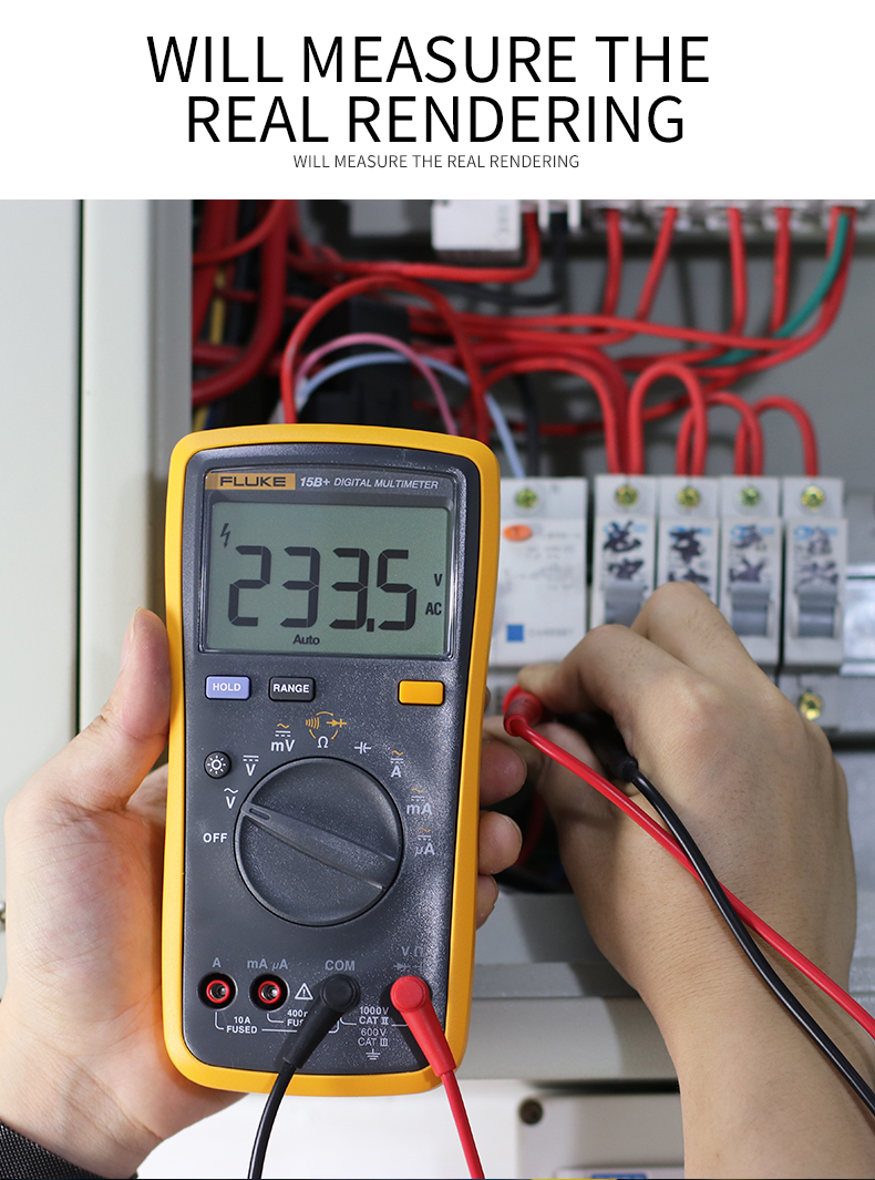 Fluke Digital Multimeter with Auto Range and 4000 Counts for AC DC Voltage and Current 3