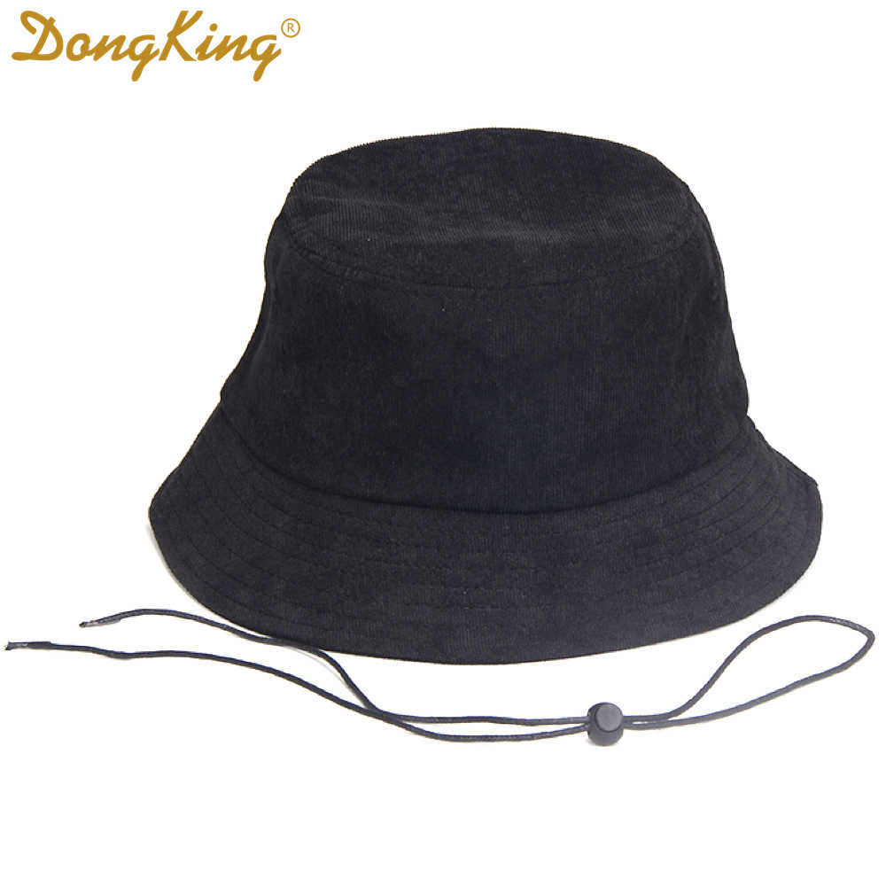 32107c3e2b8 DongKing Big Size Bucket Hats Windproof String Hat Big Large Head Black  Corduroy Bucket Hat Top