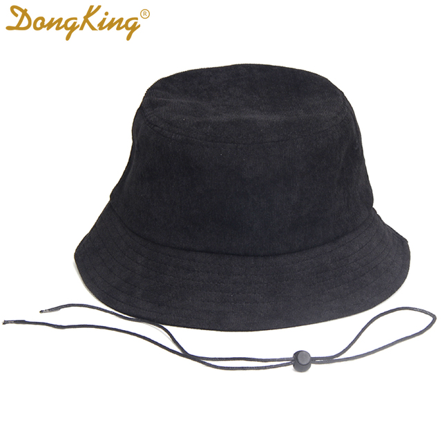 b46a0d712042e DongKing Big Size Bucket Hats Windproof String Hat Big Large Head Black  Corduroy Bucket Hat Top Quality Corduroy Pig Nose Buckle