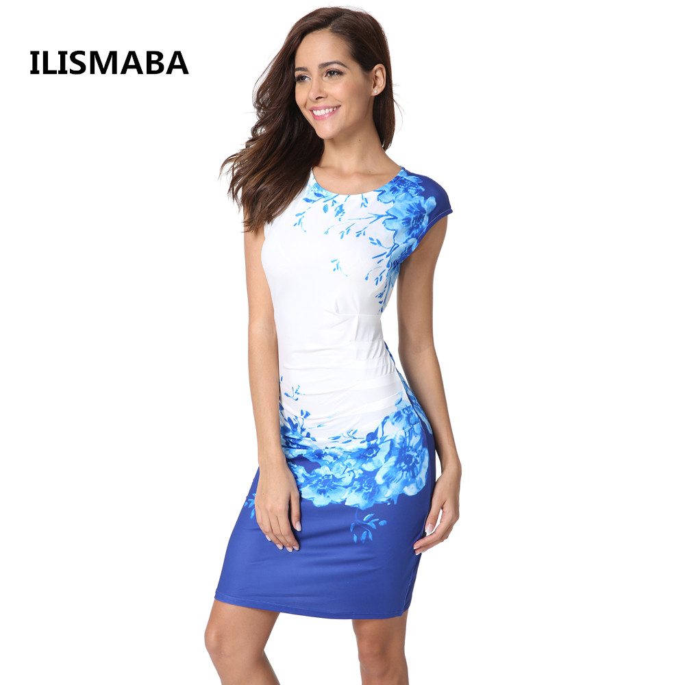 ILISMABA New summer ladies fashion sexy brand dress digital printing high quality knitted elastic fabric women's dress ilismaba new ladies fashion sexy autumn long sleeved brand dresses high quality printed knitted elastic fabric women s dress