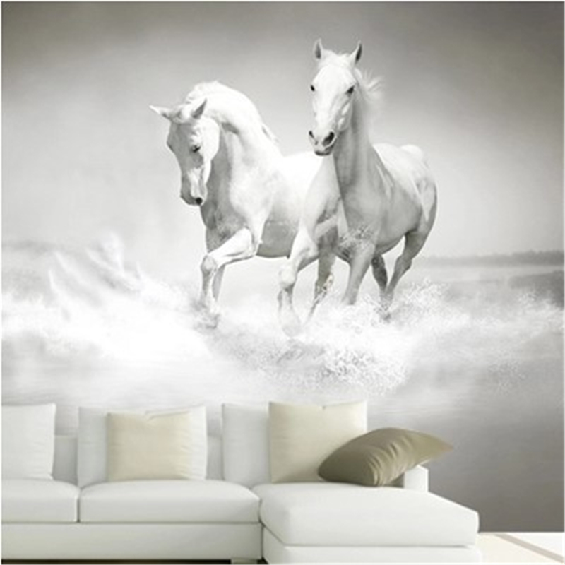 Beibehang  3 D Horse White Horse Large Mural Continental Back Wall Sofa Bedroom TV Backdrop 3d Mural Papel De Parede