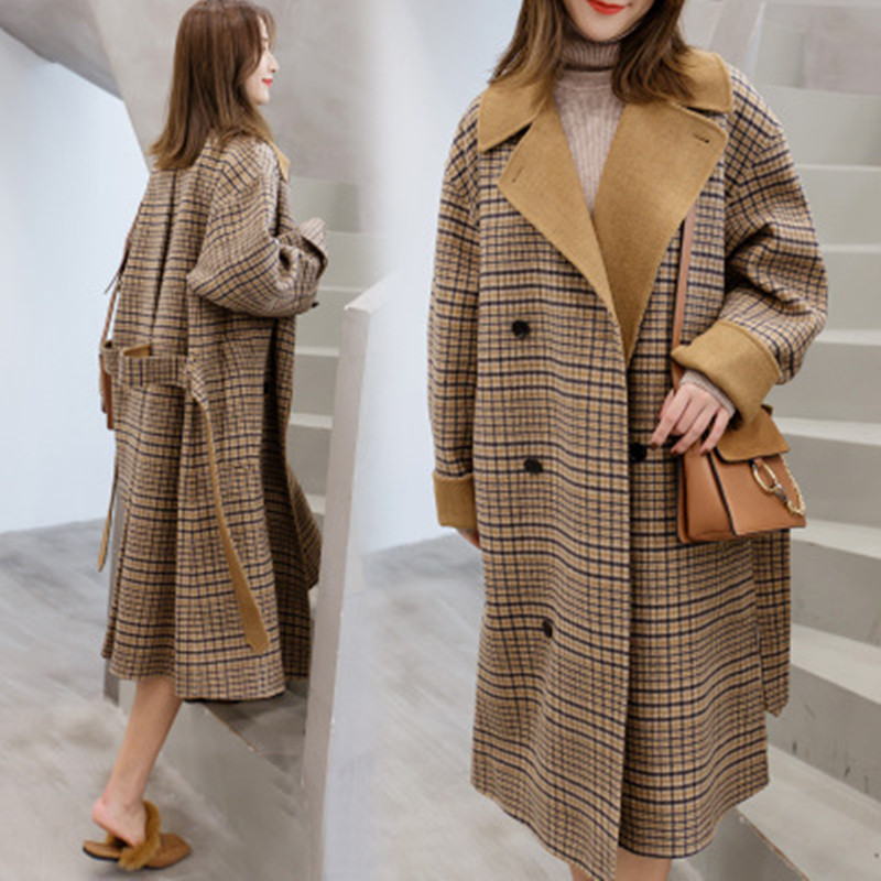 Laine Outwear Style Automne Feminino Taille Manteau Hepburn D'hiver Nouvelle Grande De Casaco Khaki Longues Manches Femmes Europe Long Lâche xt5wWqR