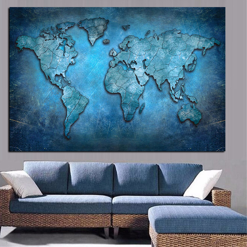Abstract 3D World Map Canvas Painting Modern Globe Map HD Print On Canvas For Office Meeting Room Picture Wall Art Cuadros Decor