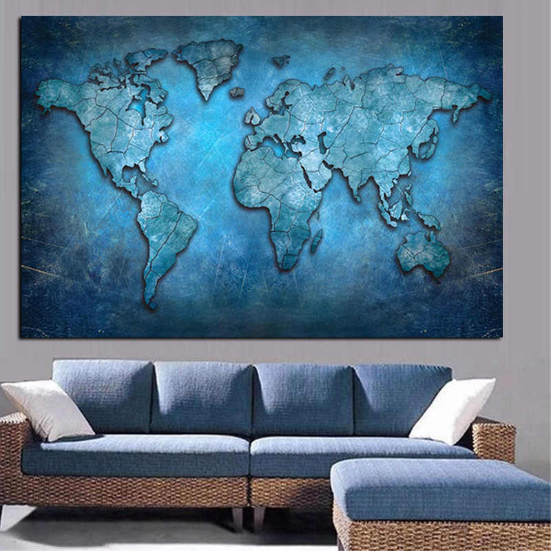 Abstract 3d World Map Canvas Painting Modern Globe Map Hd Print On Canvas For Office Meeting Room Picture Wall Art Cuadros Decor Aliexpress
