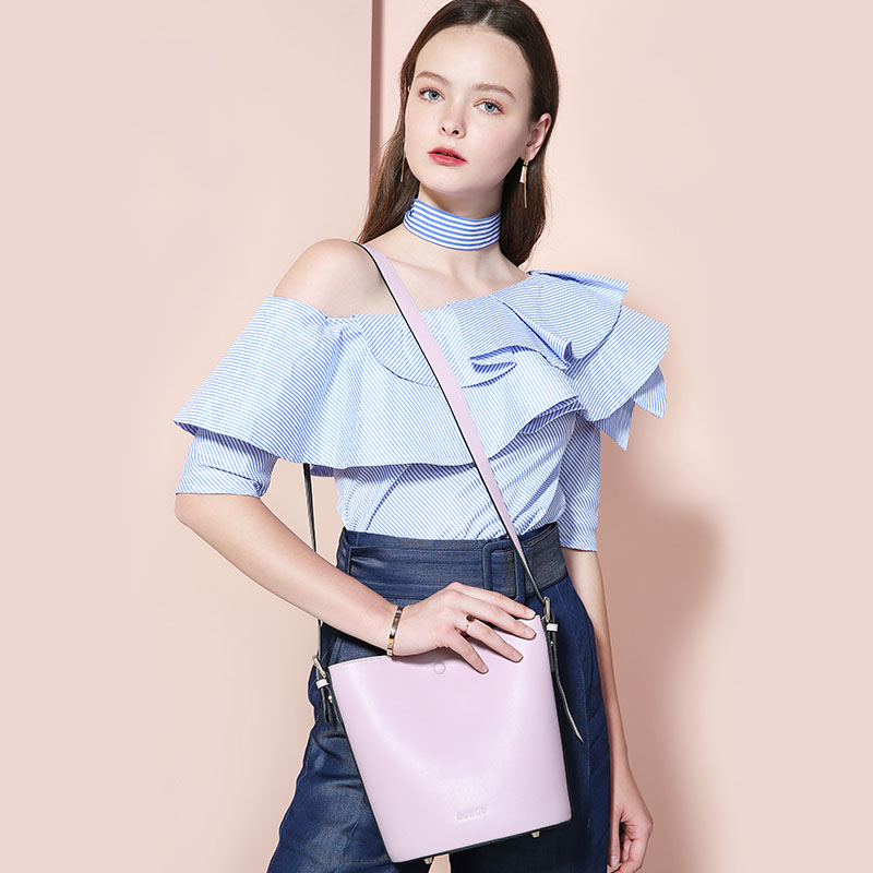 New Personality Fashion Genuine Leather Shoulder Messenger Bag Handbags Striped Decorative Bucket Bag Calfskin Diagonal Bag 2015 new fashion trend of women bag quality pu leather bucket bag portable shoulder messenger bag sweet personality small bag