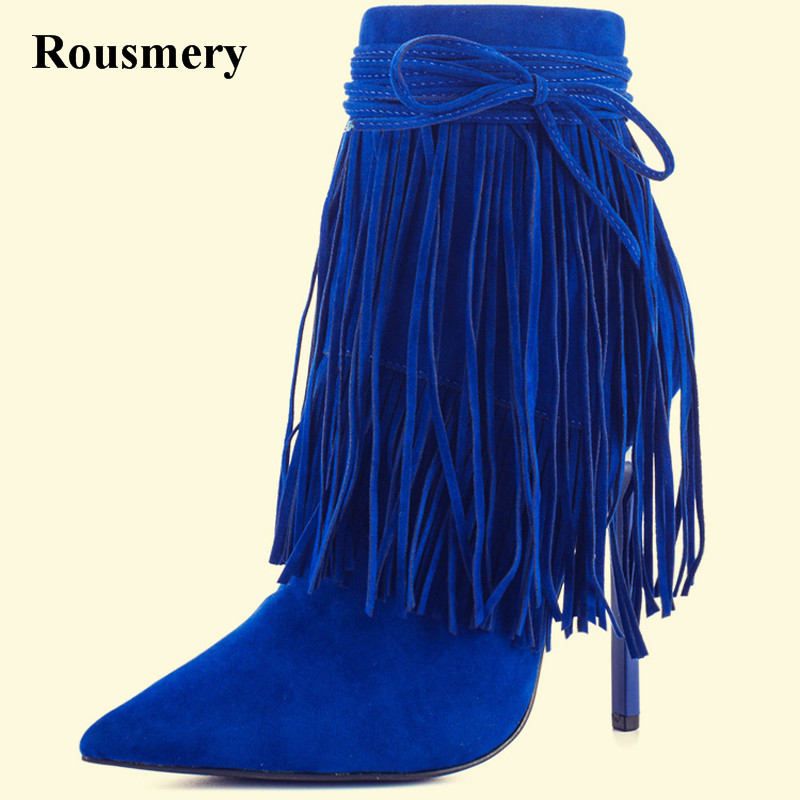 Free Shipping Women Fashion Pointed Toe Blue Suede Leather Ankle Tassels Short Boots Lace-up Stiletto Heel Ankle Boots new arrival black leather and suede ankle boots women pointed toe short boots wedges boots metal buckles decorated free shipping