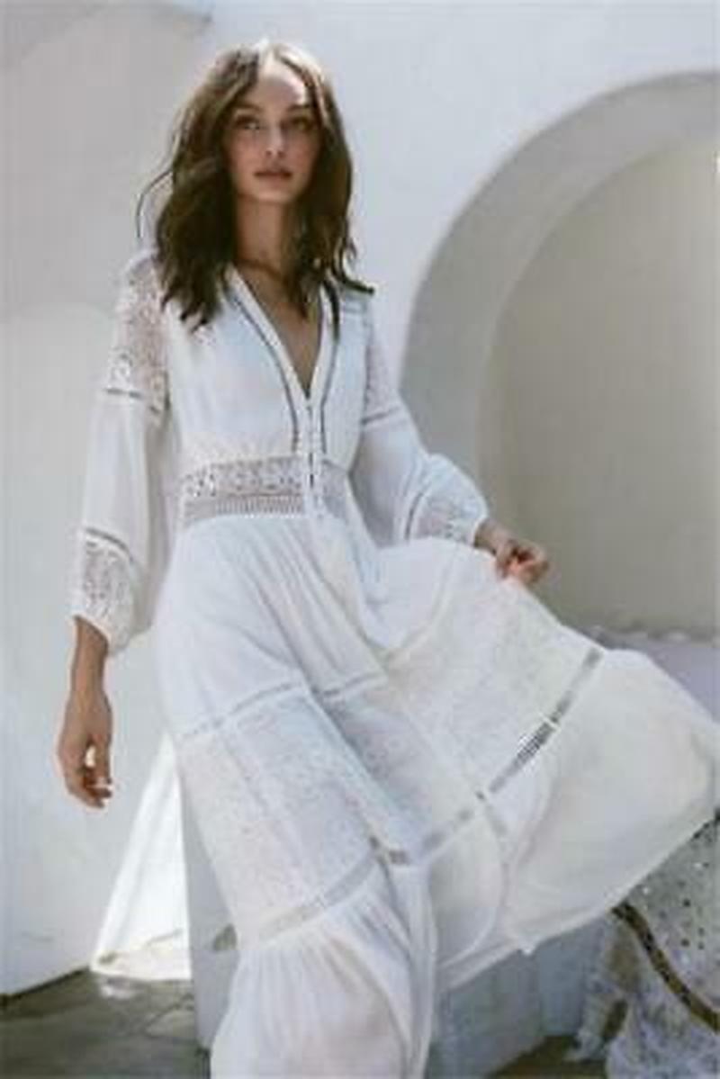 Vintage 70 s profonde V pure gaze blanche déesse Maxi Boho dentelle Hippie Prairie robe Slim Fit A850