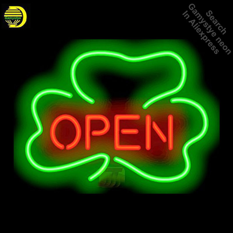 Neon Signs for Shamrock Open Handcrafted New Business Art Neon Bulbs sign Glass Tube Decorate Wall Wholesale Sign dropshippingNeon Signs for Shamrock Open Handcrafted New Business Art Neon Bulbs sign Glass Tube Decorate Wall Wholesale Sign dropshipping