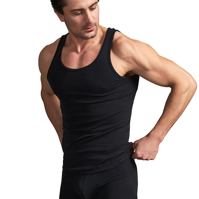 THREEGUN 4pcs/lot Men's Cotton Undershirts Cotton Solid Seamless Underwear Brand Clothing Sleeveless Tank Vest Comfort Underwear