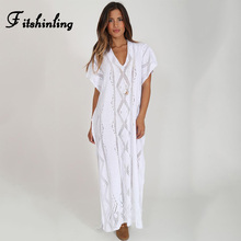 Fitshinling V neck boho knitted long dress beachwear hollow out straight big sizes white pareos swimwear holiday women dresses