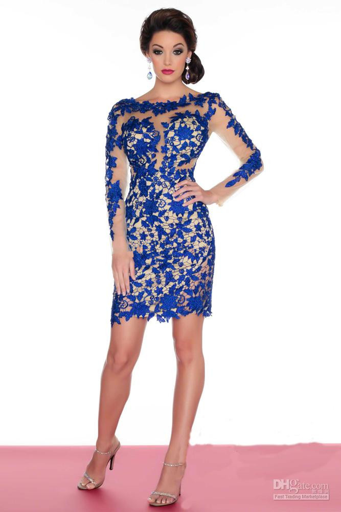 2015 New Long Sleeve Short Sheath Lace   Cocktail     Dresses   Ladies Party Gowns Custom Made Size 2 4 6 8 10 12 14 16 18++ C21