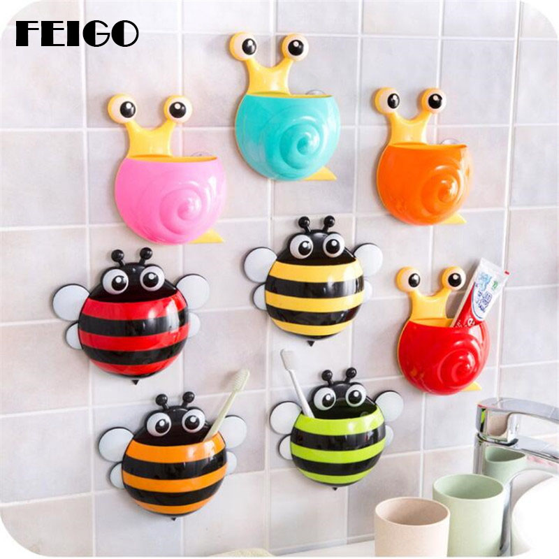 FEIGO 1 PcsHot Sale Cute Animal Bees Snail Modeling Strong Suction Cups Toothbrush Holder Three Sucker Toothbrush Rack Home F137 image
