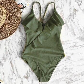 Happy Ending Yellow Solid One-piece Swimsuit Falbala V neck Ruffle Sexy Monokini 2019 Ladies Beach Bathing Suit Swimwear