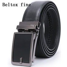 Mens Genuine Leather Ratchet Dress Belt with Open Linxx Automatic Buckle Big and Tall Cinto Masculino