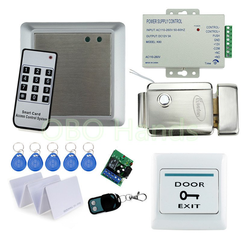 Full Complete 125KHz Rfid Card reader Kit +Electric Lock + Power Supply + Door Bell+Remote+keypad for access control system original access control card reader without keypad smart card reader 125khz rfid card reader door access reader manufacture