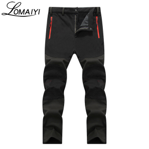 Image 4 - LOMAIYI NEW Mens Winter Casual Pants Men Fleece Lining Sweatpants Breathable Warm Mens Trousers Black Zipper Pants,AM201