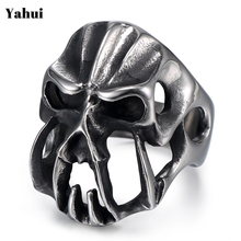 YaHui stainless ring men mask blue punk vintage mens biker jewelry gifts for bikers  accessories