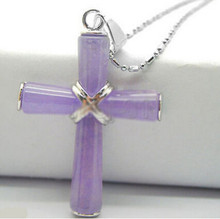 ZCD 317+++new hot Fashion New Purple Cross Pendant Chain Necklace(China)