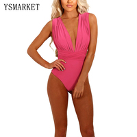 2017 Solid Women One Pieces Swimsuits New Sexy Deep V Neck High Waist Monokinis Unique Adjustable