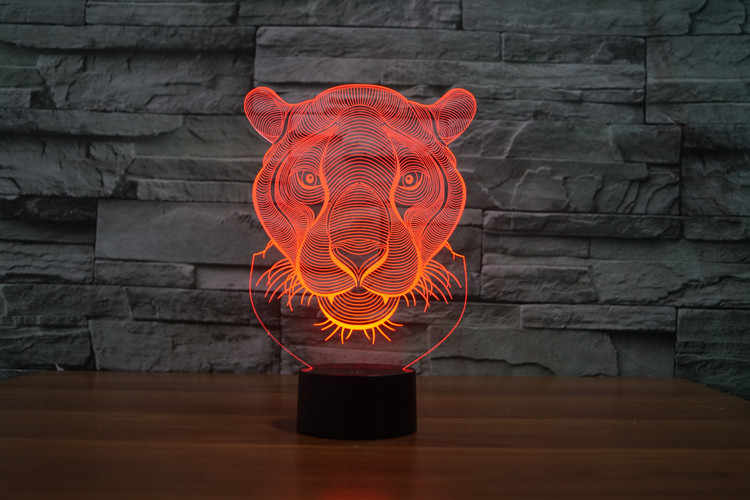 7 צבעים תאורת אפקטים 3D מדהים מתנה האריה ראש 3D זוהר LED מנורת מגע מתג אמנות פיסול אורות ייחודי