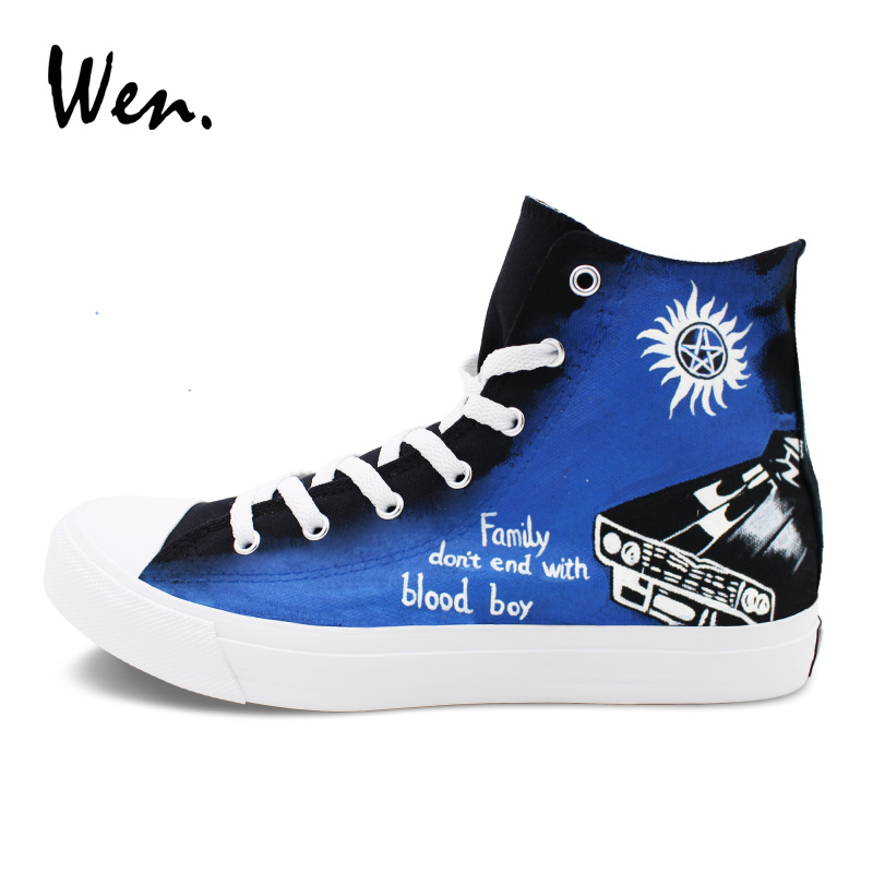 Wen High Top Hand Painted Canvas Shoes Men Women Sneakers Design Supernatural Graffiti Skateboarding Flats e lov design hand painted couples lovers canvas shoes custom women flats casual shoe espadrilles graffiti leo horoscope