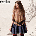 Artka estilo vintage tres quater mangas linterna del collar del soporte del todo-fósforo de impresión floja camisa de paño sa10848c