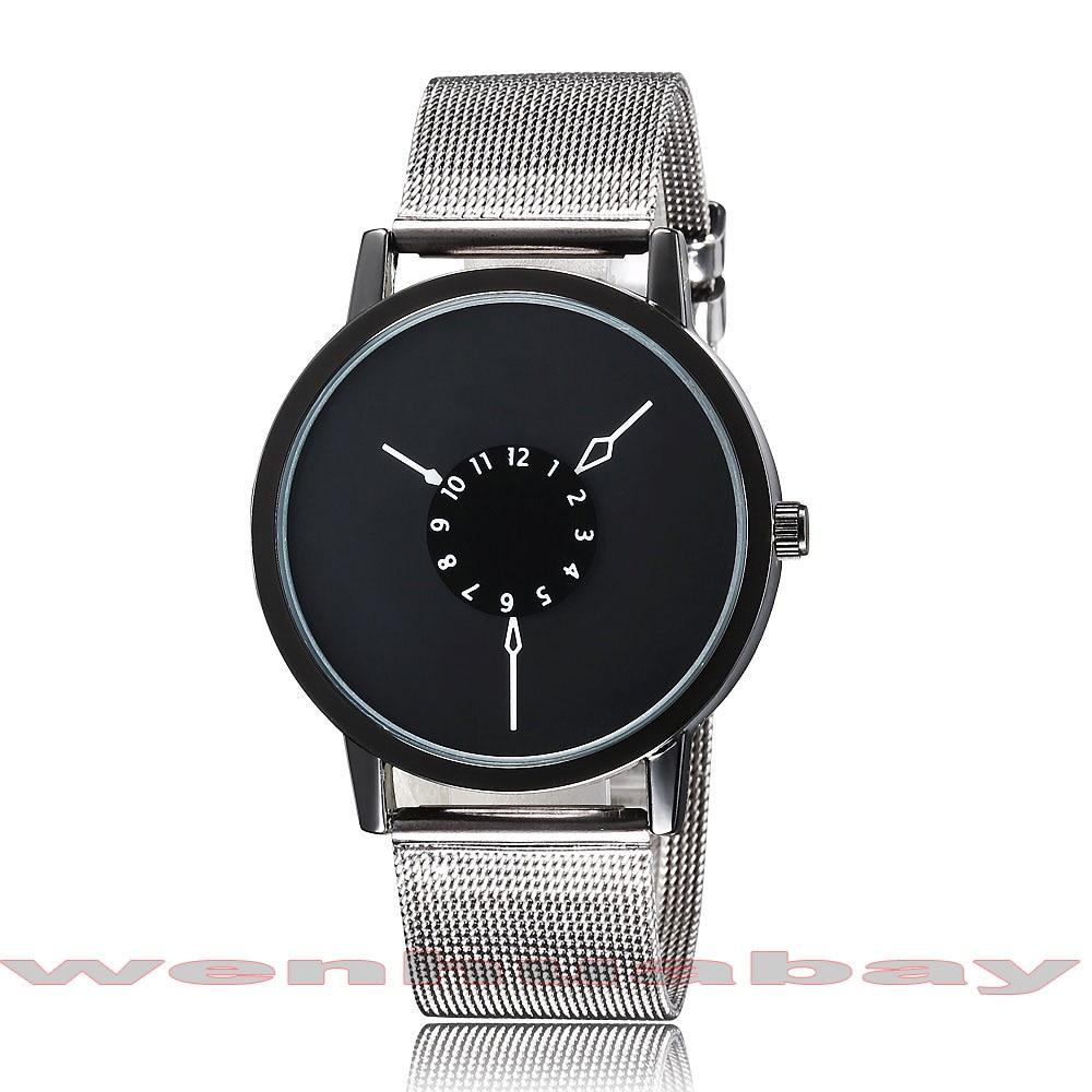 Paidu Negro / Blanco Acero Inoxidable Banda de Malla Reloj de pulsera - Relojes para hombres