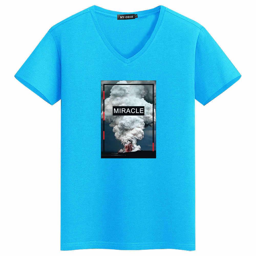 MYDBSH бренд Для мужчин/Для женщин эластичные хлопковые топы тройники мода извержение вулкана футболки с принтом Для мужчин; уличная Hipster чудо футболка