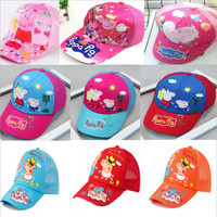 Cute Peppa Pig Hat Baseball Cap Headdress Breathable Block The Sun Cool Summer Cotton 3-10 Year Old Action Figure Children Gifts