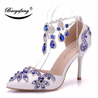 BaoYaFang New Arrival Womens Wedding shoes Royal Blue crystal party shoe female Thin Summer Sandals Pointed Toe ankle strap Belt