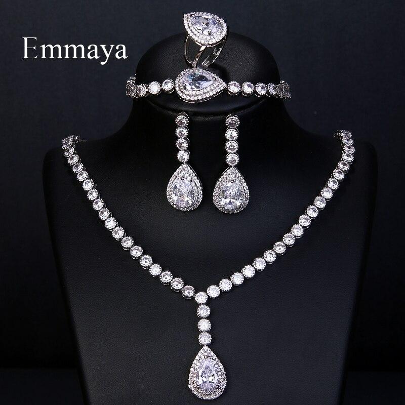Emmaya luxe grand argent couleur éblouissante cubique Zircon nuptiale ensemble de bijoux 4 pièces collier Bracelet anneau pour les femmes indiennes