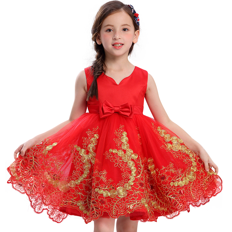 Upscale Gold thread embroidery Sequins Tutu Princess Dress Formal  Wedding Gown Flower Girls Children Clothing Kids Party Dress gold sexy gold thread embroidery hollow out lace crop top