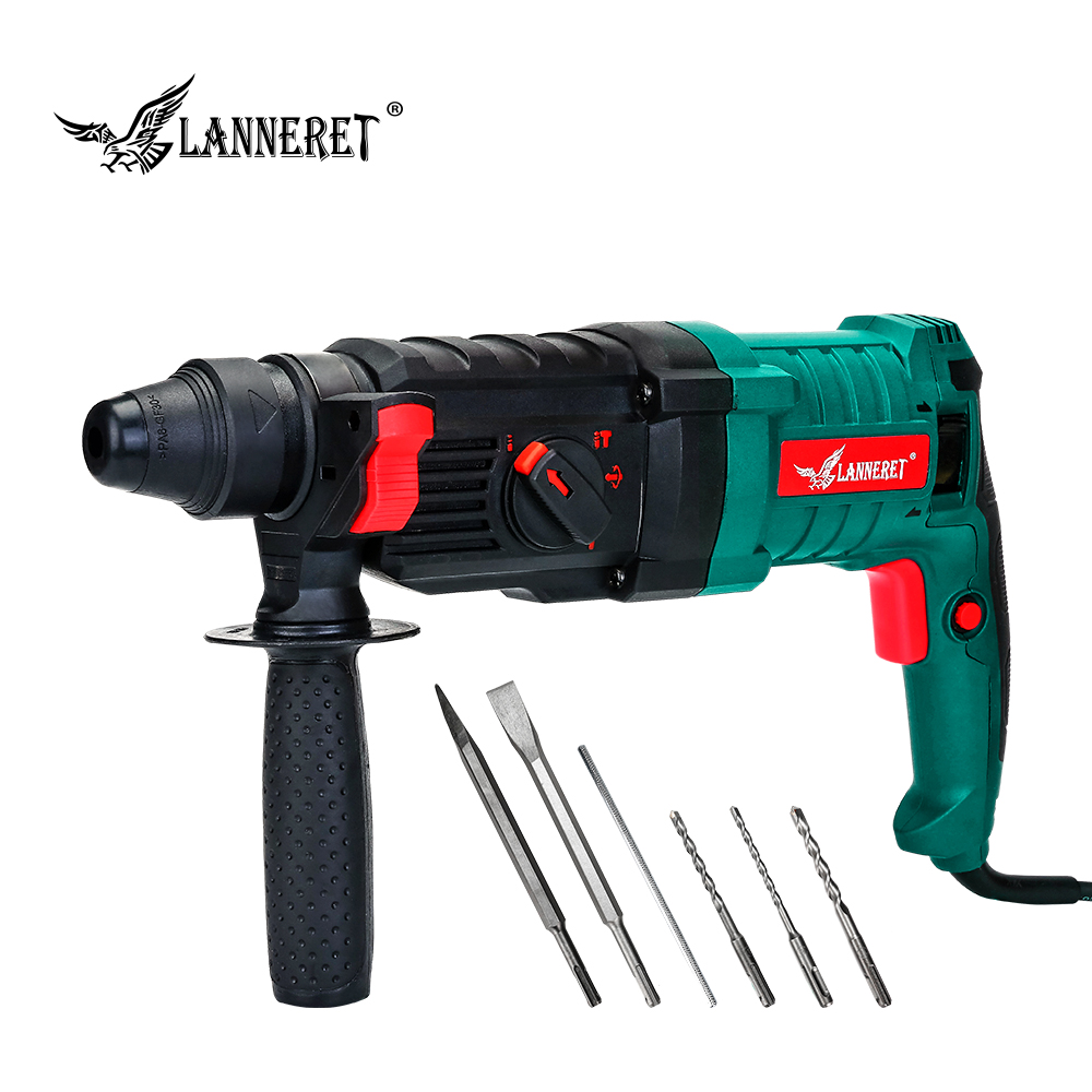 LANNERET 800W 26mm Electric Rotary Hammer Drill 5pcs Accessories 4 Function Adjustable Handle BMC Impact Drill