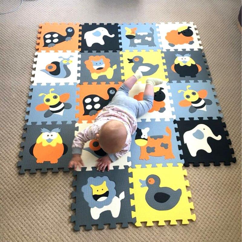 Mqiaoham bande dessinée motif Animal tapis EVA mousse Puzzle tapis enfants étage Puzzles tapis de jeu pour enfants bébé jouer Gym ramper tapis