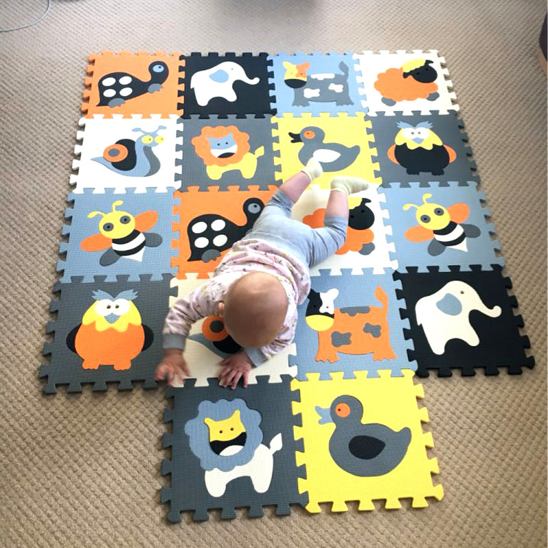 mqiaoham Cartoon Animal Pattern Carpet EVA Foam Puzzle Mats Kids Floor Puzzles Play Mat For Children Baby Play Gym Crawling Mat iron steel texture background pattern floor mat