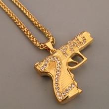 2PAC Gun Necklace Gold Chain for Men Rap Hip Hop Necklace  Gold Plated Submachine Gun Fashion Jewelry Pistol Pendant