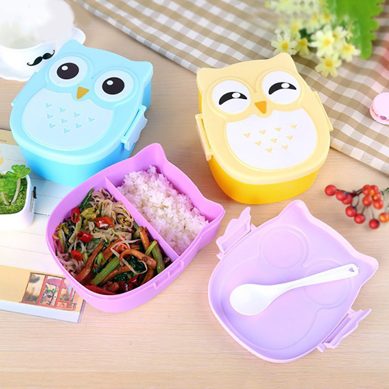 microwave kawaii owl lunch box containers with compartments for kids bento box food box storage. Black Bedroom Furniture Sets. Home Design Ideas