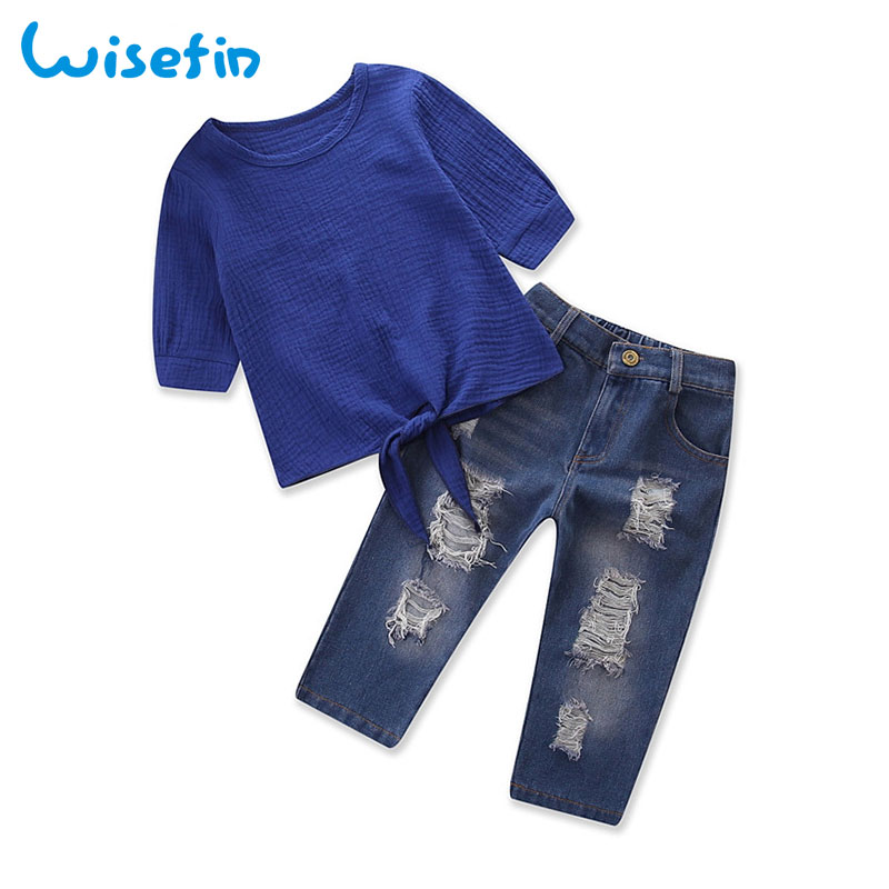 Wisefin Autumn Clothes Girl Short Sleeve Toddler Kids Outfit Set For Baby Girl Fashion 2 Piece Set Children Ripped Jeans + Tops